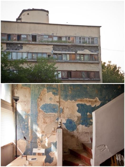 Жильцам и арендаторам пришлось жить и работать в таких неприглядных условиях («Дом Наркомфина»).