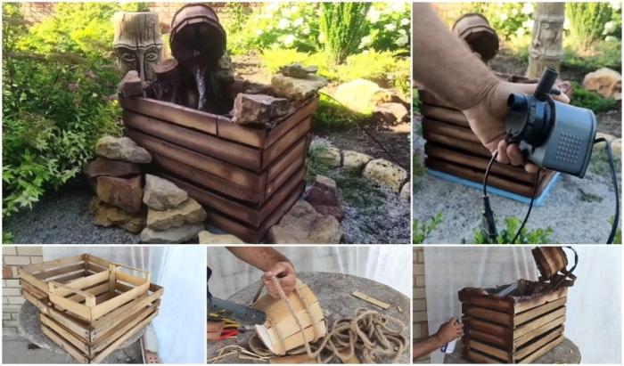 Превращение трех деревянных ящиков в очаровательный фонтанчик для сада.