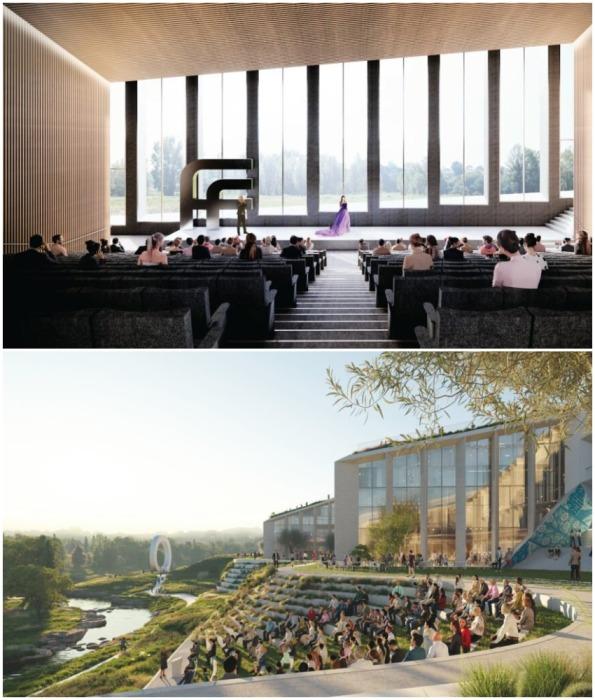 Пространства для проведения массовых мероприятий, заседаний и пресс-конференций (концепт Fase Valley).