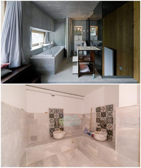 Благоустроенные ванные комнаты в подземной резиденции Villa Vals (Швейцария).