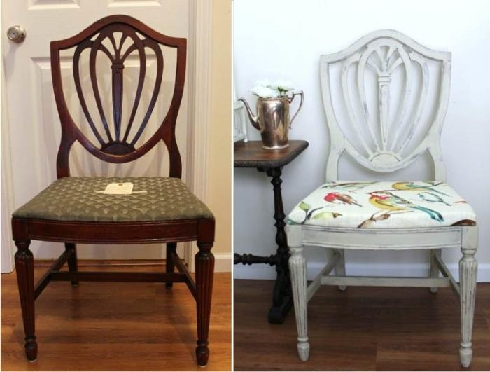 С такими эффектными стульями расставаться никак нельзя, ведь их можно реанимировать самостоятельно. | Фото: kitchendecorium.ru.