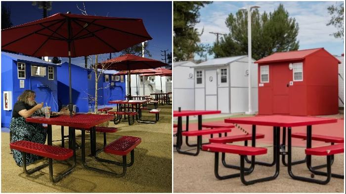 Общие зоны отдыха для жителей деревни Alexandria Park Tiny Home Village.