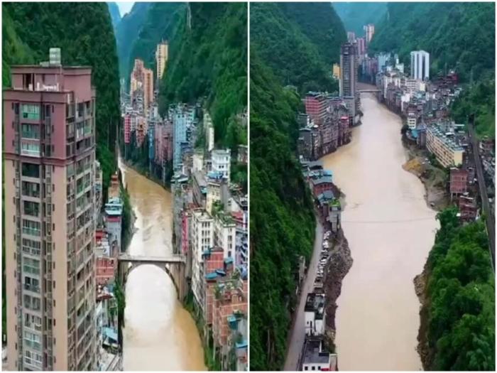 В некоторых местах ширина города не превышает 30 метров (Яньцзинь, Китай).