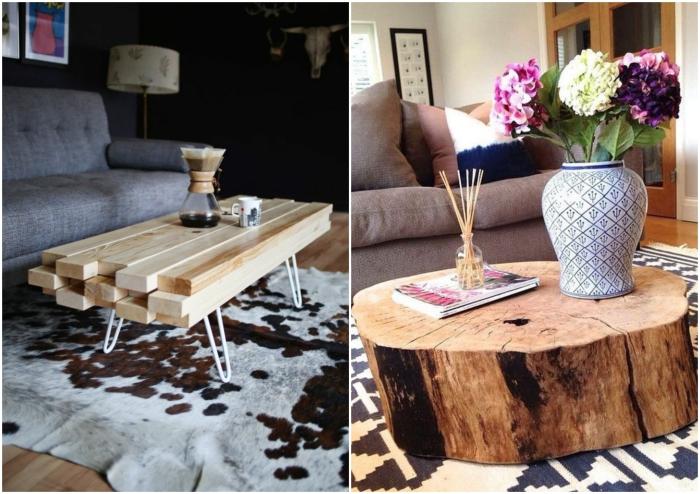 Пни и доски вдохновили креативных мастеров на создание оригинальных столиков.