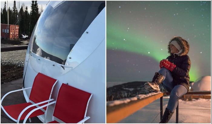 В хорошую погоду можно отдыхать и на открытой террасе, только одеваться придется потеплее (Borealis Basecamp, Аляска).