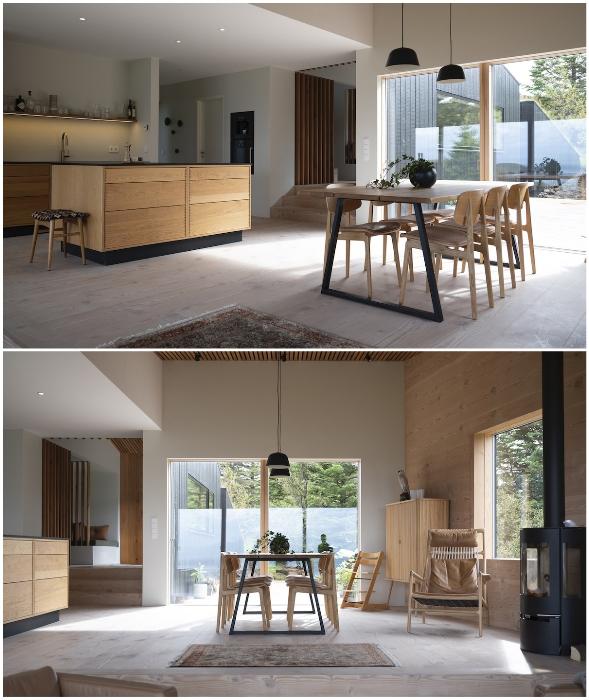 В интерьере кухни-столовой преобладает минимализм и природные материалы (Thingvallavatn House, Исландия).
