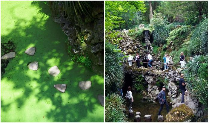 Иногда камни показываются над водой, и тогда смело можно начинать шагать только с левой ноги (Quinta da Regaleira, Синтра).