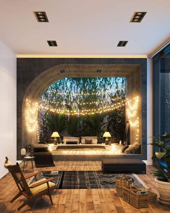 Одна из спальных комнат, расположенных под землей (концепт Landscape House). | Фото: amazingarchitecture.com.