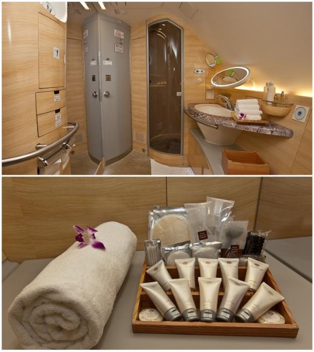 Ванная комната с туалетными принадлежностями к услугам пассажиров первого класса (Airbus А-380 Etihad).