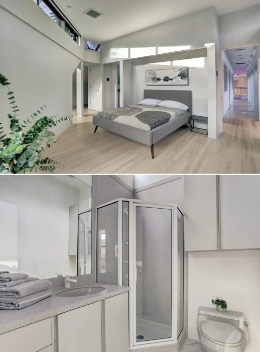 Спальни и ванные комнаты на втором этаже имеют нестандартную планировку и вполне современный интерьер (Darth Vader House, Хьюстон).