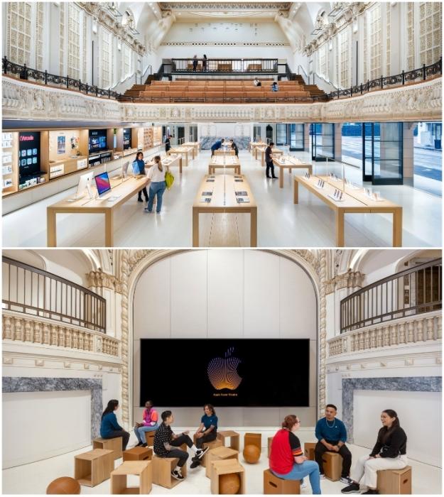 Торговый и презентационный залы расположены на первом этаже в вестибюле (Apple Tower, Лос-Анджелес).