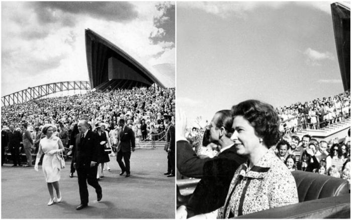 Открывала Сиднейский оперный театр Королева Елизавета II (1973 г., Австралия).
