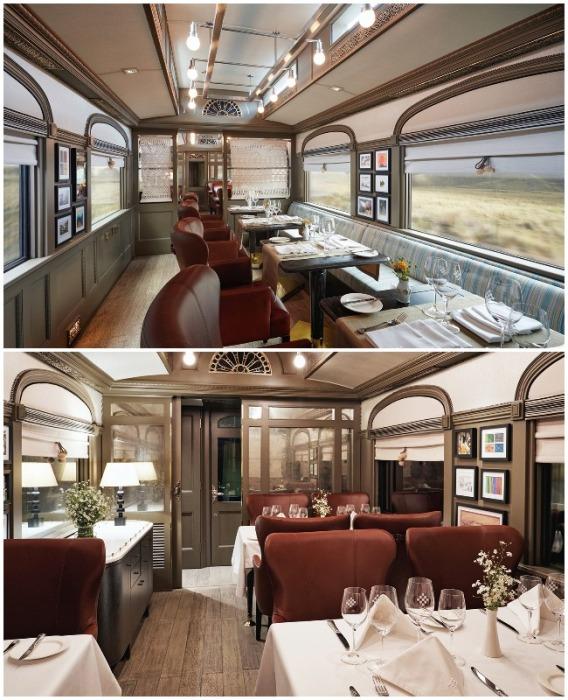 В туристическом поезде имеется два вагона ресторана (Belmond Andean Explorer, Перу).