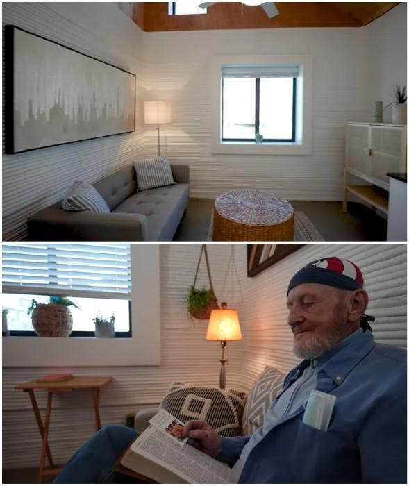 Теперь у Тима есть собственная гостиная, где можно почитать или отдохнуть на удобном диване (Community First Village, Остин).
