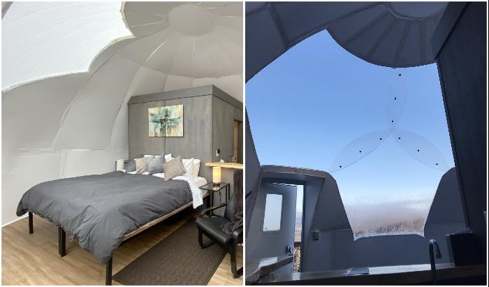 Спальная зона в комфортабельном номере, из которой отрывается восхитительный вид (Borealis Basecamp, Аляска).