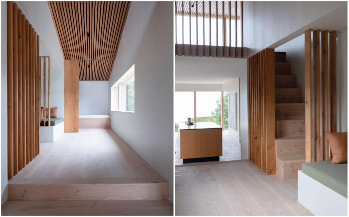 Дерево и бетон – основные отделочные материалы загородной резиденции Thingvallavatn House (Исландия).