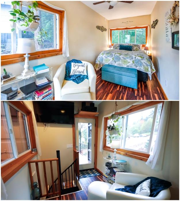 На втором этаже обустроена уютная спальная комната с зоной чтения.