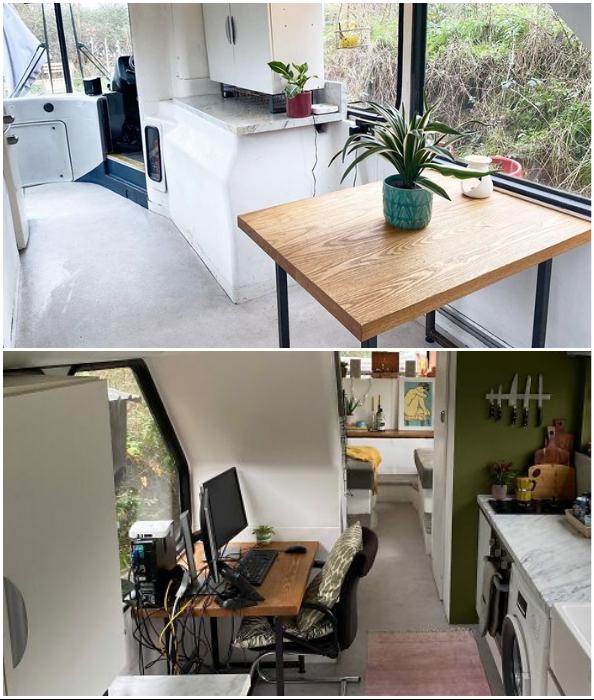 В доме влюбленных есть и столовая, и домашний офис.