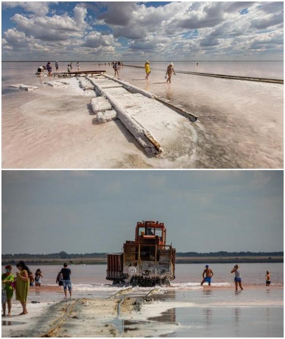 Инопланетный пейзаж и поезд среди соли и воды – фантастическое зрелище (о. Бурсоль, Россия).