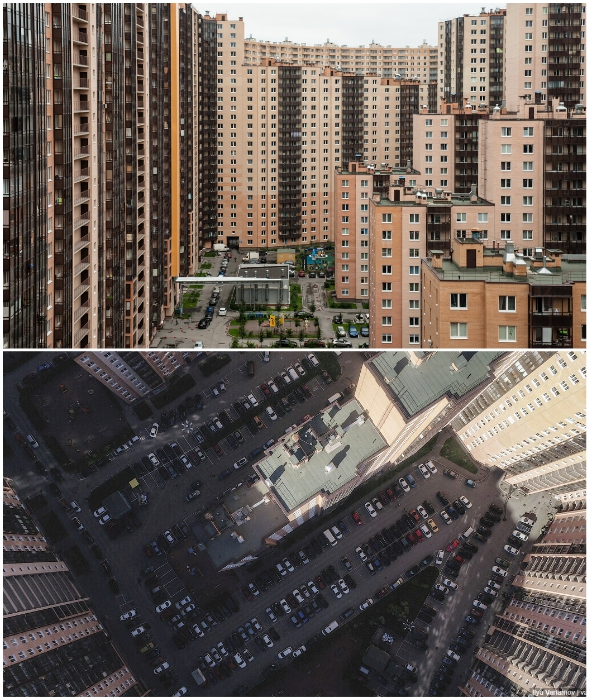 Реалии жизни в огромном жилом доме с пугающим двором до отказа забитым автомобилями (Кудрово, ул. Областная, дом №1).