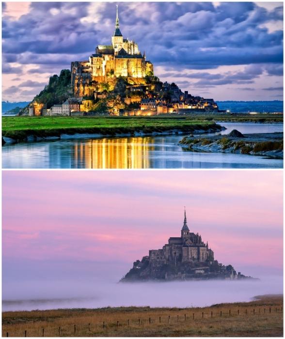 Особенно восхитительно аббатство на острове выглядит в вечернее время и в туманные дни (Мон-Сен-Мишель, Франция).