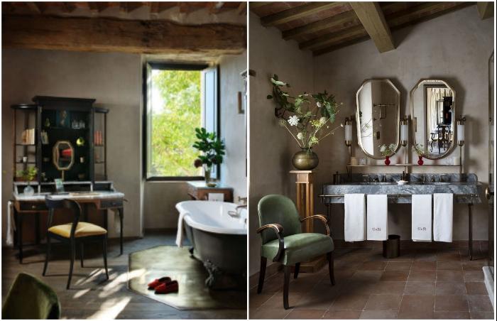Ванные комнаты оформлены так, чтобы гости могли наслаждаться и водными процедурами, и умиротворяющей обстановкой (Castello Di Reschio Hotel, Италия).