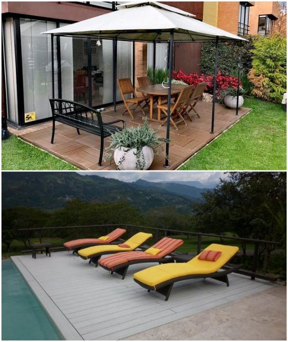Из доски/плит WPC можно сделать настил для зоны отдыха во внутреннем дворе или возле бассейна (Колумбия).