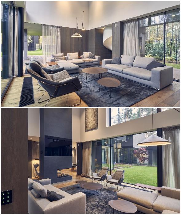 Элегантная гостиная первого этажа (Circle Wood, Польша).