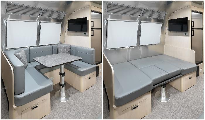 Мягкий уголок в столовой можно превратить в двуспальную кровать (Airstream Flying Cloud 30FB Office).