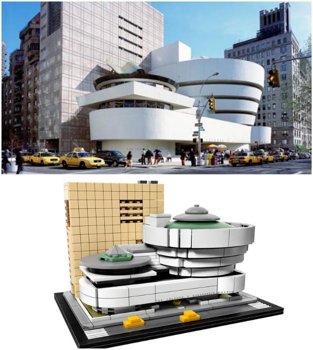 Из кубиков конструктора можно собрать всемирно известный шедевр Фрэнка Ллойда Райта (Guggenheim Museum).