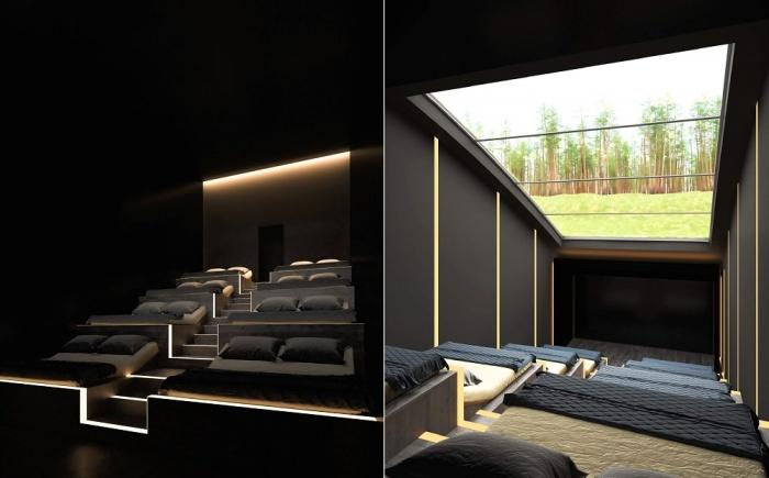 Домашний кинотеатр можно использовать как дополнительную гостиную, стоит лишь открыть огромное мансардное окно (концепт «Ландшафтный дом»).