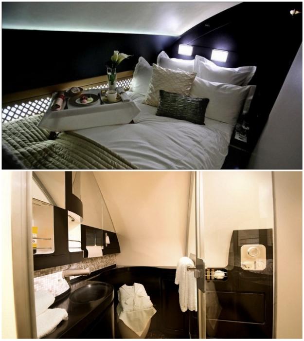 Персональная спальня и ванная комната помогут почувствовать себя в фешенебельном отеле (Airbus А-380, The Residence Etihad).
