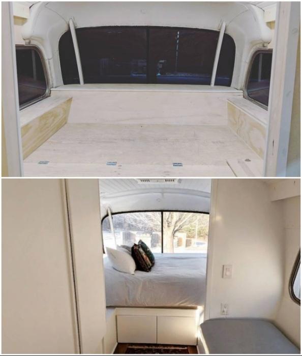 Спальня обустроена на подиуме в задней части автобуса.