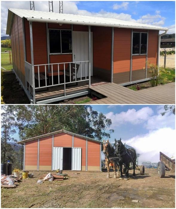 Из блоков и панелей WPC можно собрать и жилой дом, и амбар для сельхознужд (Колумбия).