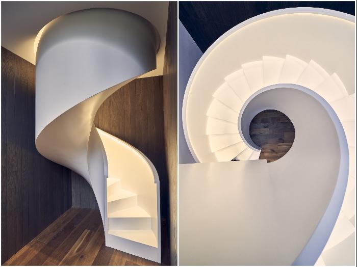Скульптурная лестница стала эффектным украшением интерьера (Circle Wood, Польша).