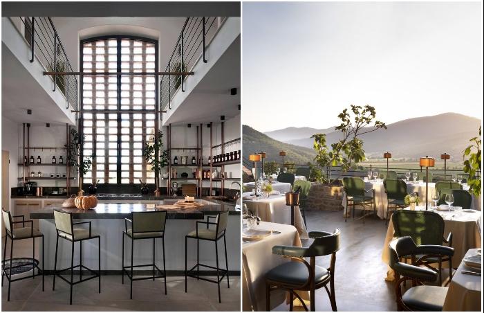 Открытая кухня, ресторан и обеденный зал на террасе порадуют гостей отеля (Castello Di Reschio Hotel, Италия).