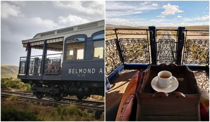 Открытая зона отдыха в последнем вагоне туристического поезда (Belmond Andean Explorer, Перу).