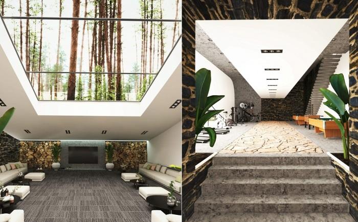В загородном доме предусмотрена большая гостиная и тренажерный зал с игровой зоной (концепт Landscape House).