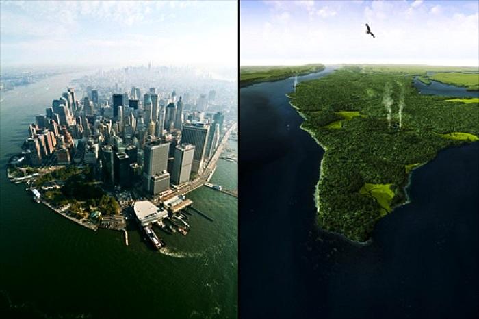 Кардинальное видоизменение острова Маннахатта (Нью-Йорк).