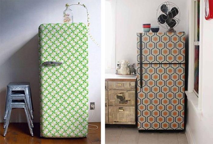 И даже холодильник можно преобразить благодаря обоям.