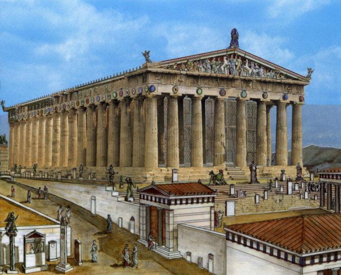 Так мог выглядеть Парфенон 2,5 тыс. лет назад (Афины, Греция). | Фото: planetnews.gr.