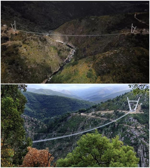 Самый длинный подвесной мост в мире соединил водопад Агиейрас и ущелье Пайва (516 Arouca Bridge, Португалия).