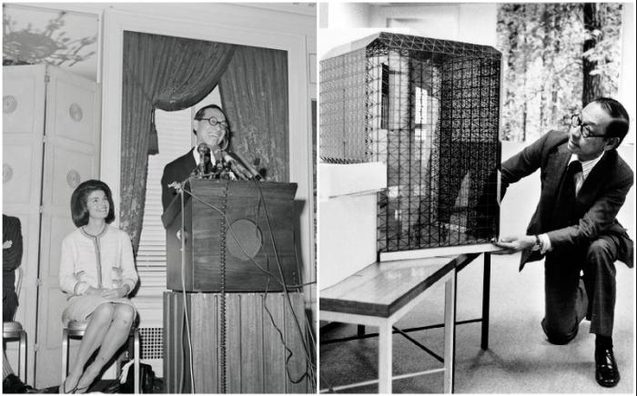I. M. Pei представляет свой проект в присутствии Жаклин Кеннеди.