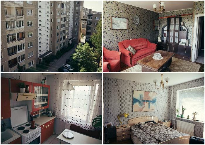 В Вильнюсе в одном из 9-этажных домов района Фабийонишкес можно снять эксклюзивную квартиру с «настоящим советским интерьером» (ул. С. Станявичяуса, Литва).
