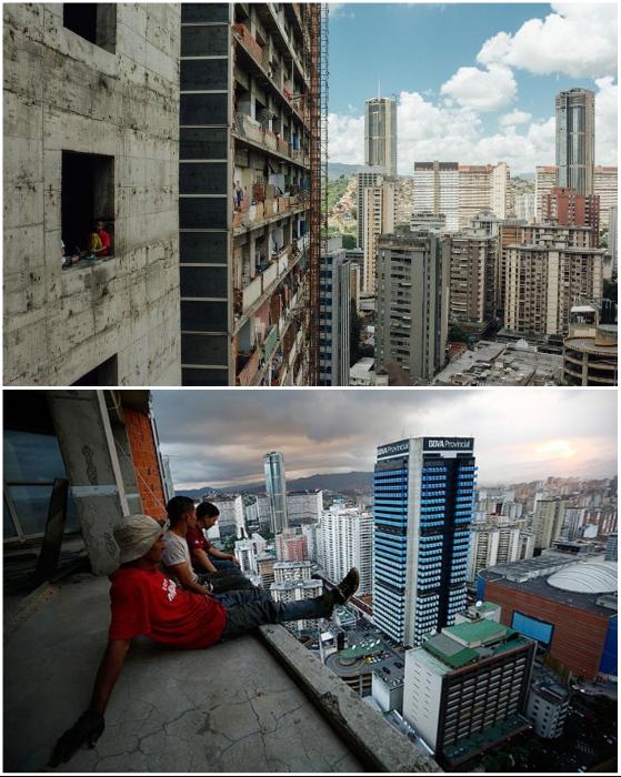 Три тысячи бездомных обживают офисный центр хотя там нет ни окон, ни перил (Centro Financiero Confinanzas, Каракас).