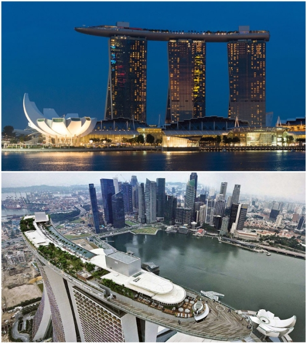 150-метровый бассейн, расположенный на краю общей крыши 200-метровых небоскребов, стал популярной достопримечательностью Сингапура (Marina Bay Sands).