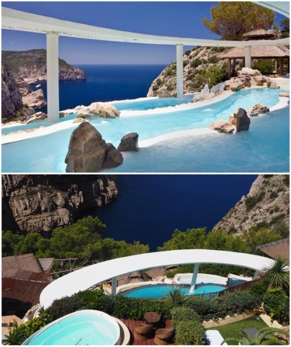 Один из лучших бассейнов мира доступен для отдыха гостям курортного отеля Hacienda Na Xamena на Ибице (Испания).