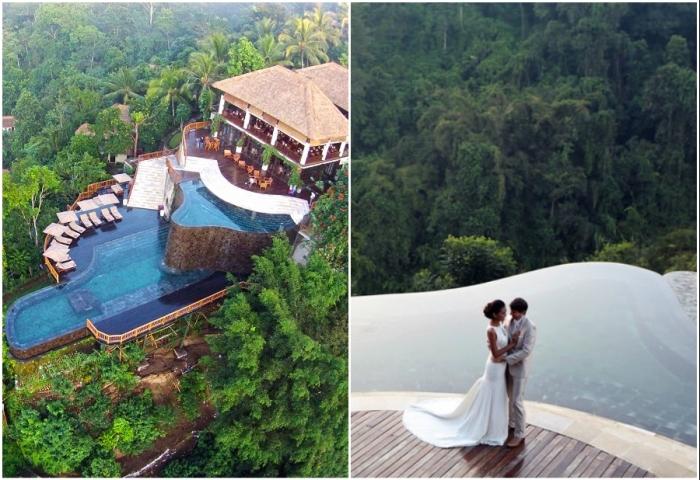 Возле главной виллы отеля создали двухуровневый бассейн, где зачастую проводят свадебные церемонии (Ubud Hanging Gardens, Бали).