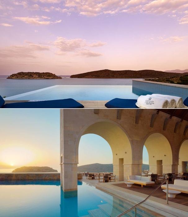 Панорамный бассейн греческого курорта Blue Palace Resort & Spa – идеальное место для релакса.