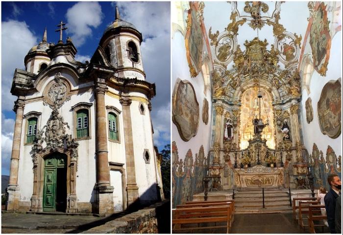 Церковь Сан-Франциско-де-Ассис – самый известный и знаменитый храм в Ору-Прету, лучший образец колониальной архитектуры (Бразилия).